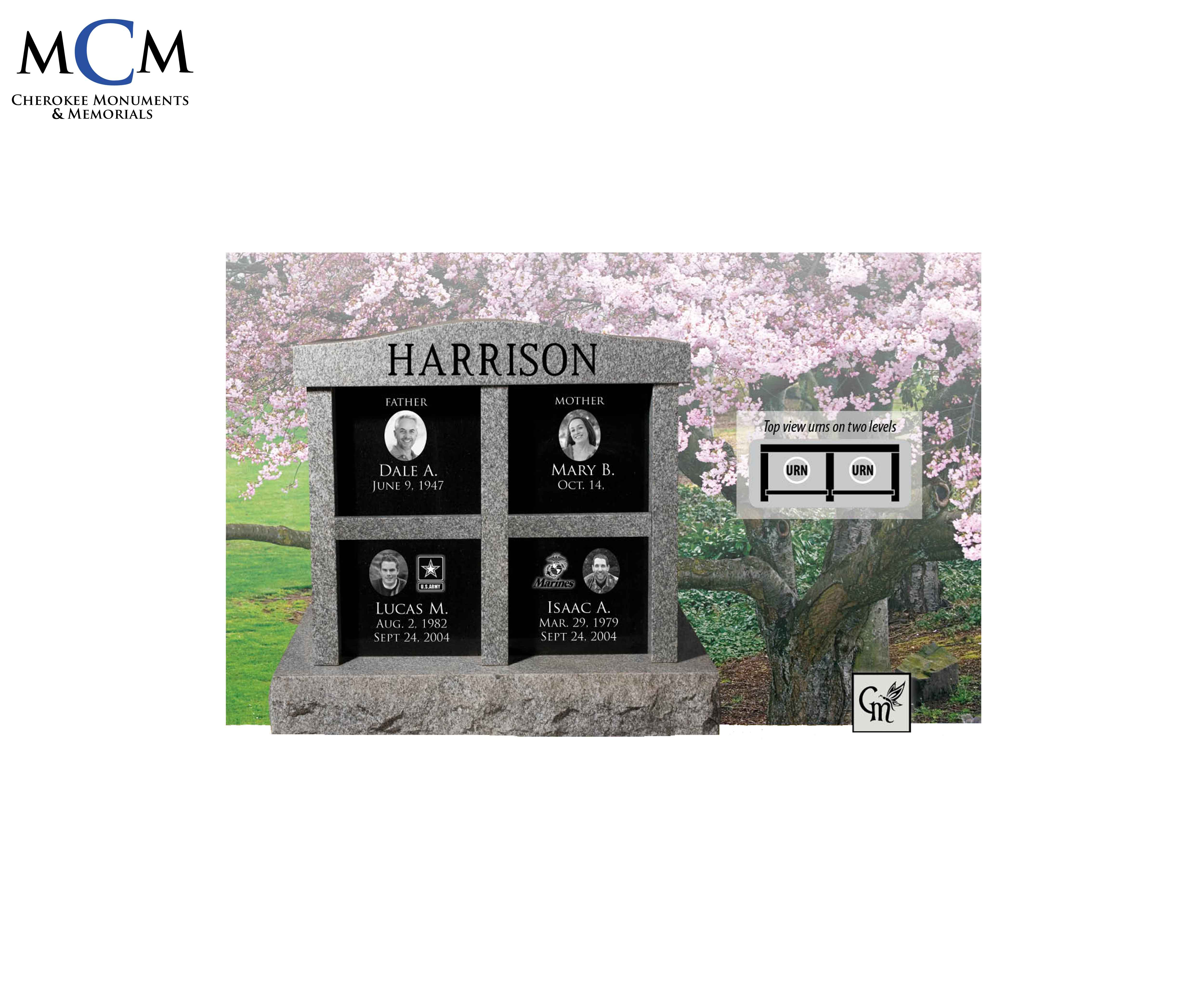 Upright Cremation Memorials - Cherokee Monuments & Memorials